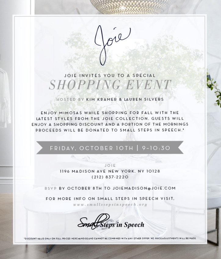 Small Steps In Speech – Joie Invites You to a Special Shopping Event ...